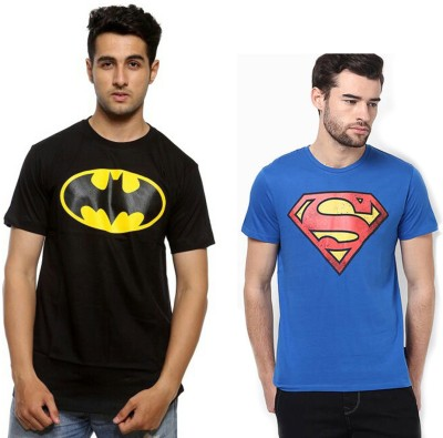 Fashion Fakir Printed Men's Round Neck Blue, Black T-Shirt