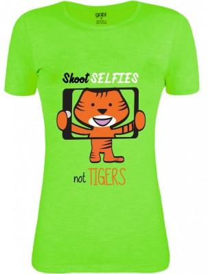 Gabi Graphic Print Women's Round Neck Green T-Shirt