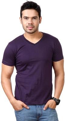 Lowcha Solid Men's V-neck Purple T-Shirt