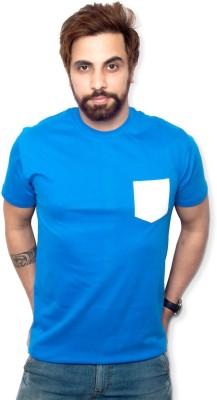 Purple Leaf Solid Men's Round Neck Light Blue T-Shirt