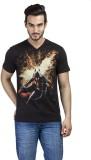 Dark Knight Printed Men's V-neck Black T...