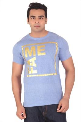 Radbone Printed Men's Round Neck Light Blue T-Shirt
