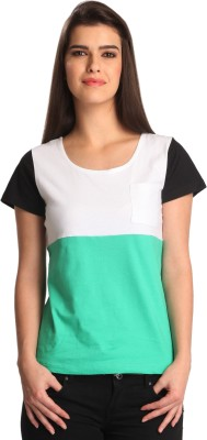 Bombay High Solid Women,s Round Neck Multicolor T-Shirt