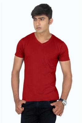 TeesTadka Solid Men's V-neck Maroon T-Shirt