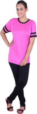 Gag Wear Striped Women's Round Neck Pink T-Shirt