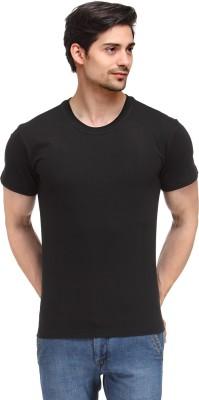 Happy Hippie Solid Men's Round Neck Black T-Shirt
