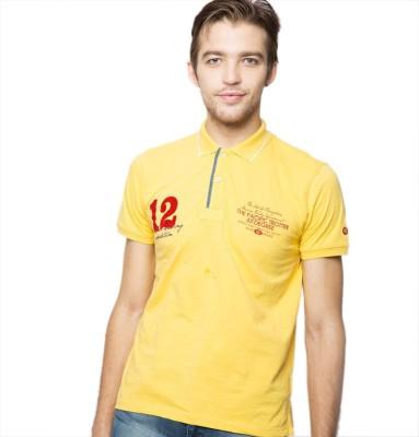 American Swan Printed Men's Polo Neck Yellow T-Shirt