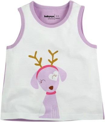 Babyoye Printed Girl's Round Neck Multicolor T-Shirt