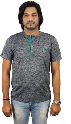 JEANLUC Self Design Men's Fashion Neck Silver, Grey T-Shirt