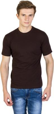 Rexler Solid Men's Round Neck Brown T-Shirt