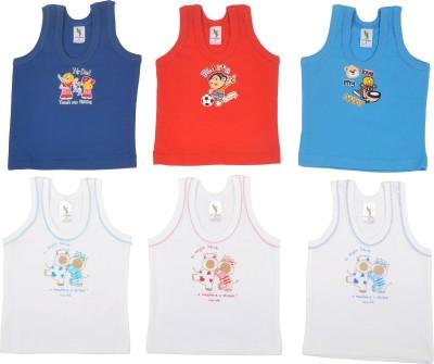 Cucumber Printed Baby Boy's Round Neck Blue, Light Blue, Orange, White T-Shirt