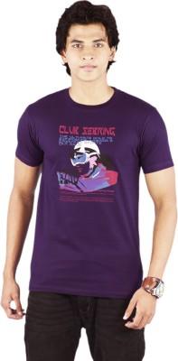 Bib & Tucker Printed Men's Round Neck Purple T-Shirt
