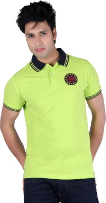 Austin Wood Solid Men's Polo Neck Light Green T-Shirt