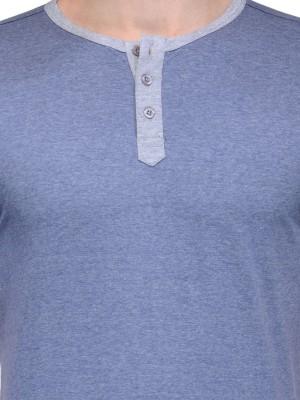 Slingshot Solid Men's Henley Blue T-Shirt