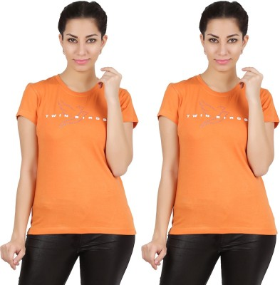 Twin Birds Printed Women's Round Neck Orange T-Shirt