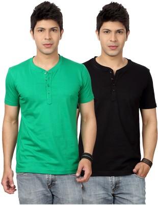 Top Notch Solid Men's Henley Green, Black T-Shirt
