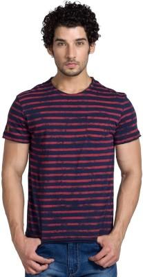 Klub Fox Striped Men's Round Neck Dark Blue T-Shirt