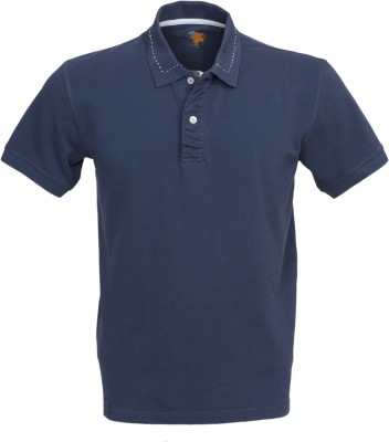 Roar and Growl Solid Men's Polo Blue T-Shirt