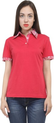 House Of Fett Solid Women,s, Girl's Polo Neck Red T-Shirt