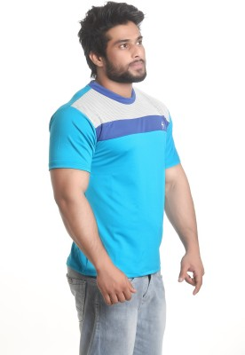 Stylar Solid Men's Round Neck Blue T-Shirt