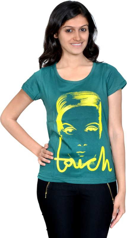 Gee & Bee Printed Women's Round Neck Green T-Shirt