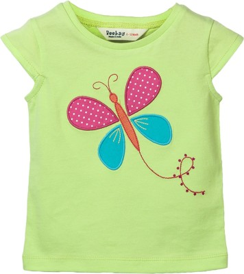 Beebay Applique Baby Girl's Round Neck Light Green T-Shirt
