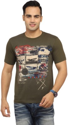 Byrock Graphic Print Men's Round Neck Brown T-Shirt