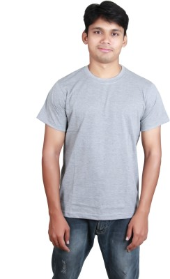 Megsto Solid Men's Round Neck Grey T-Shirt