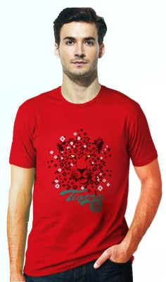 Gallop Printed Men's Round Neck Red T-Shirt