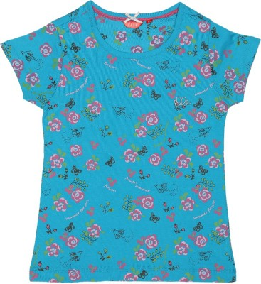 Elle Floral Print Girl's Round Neck Light Blue T-Shirt
