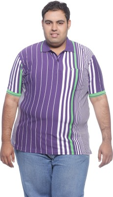 Pluss Striped Men's Polo Neck Purple T-Shirt