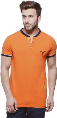 MONTEIL & MUNERO Solid Men's Henley Orange T-Shirt