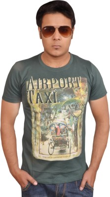 LofoX Printed Men's Round Neck Dark Green T-Shirt
