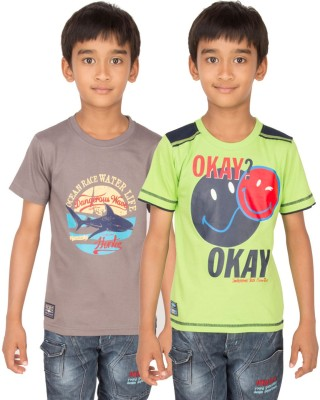 Ocean Race Graphic Print Boy's Round Neck Brown, Light Green T-Shirt