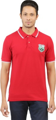 Menthol Solid, Embroidered, Applique Men's Polo Neck Red T-Shirt