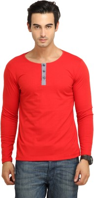 Fio Solid Men's Henley Red T-Shirt