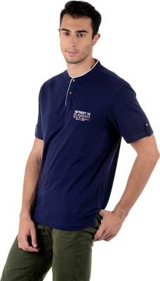 Mudo Solid Men's Henley Dark Blue T-Shirt