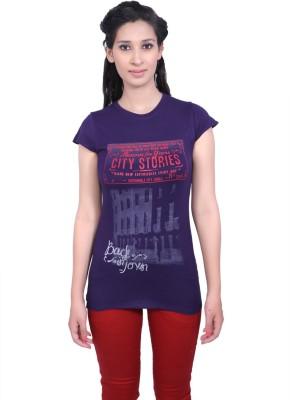 Duke Stardust Casual Short Sleeve Printed Women's Purple Top
