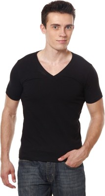 Casual Tees Solid Men's V-neck Black T-Shirt