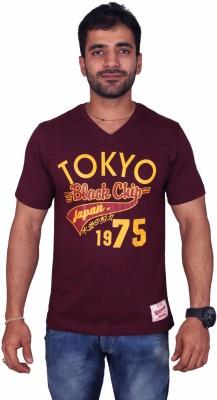 Black Chip Printed Men's V-neck Purple T-Shirt