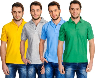 Superjoy Solid Men's Polo Neck Grey, Green, Yellow, Light Blue T-Shirt
