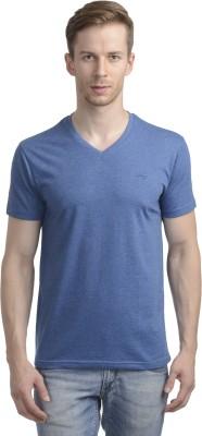 WRIG Solid Men's V-neck Blue T-Shirt