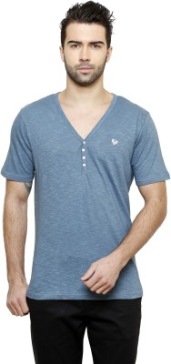 Desinvolt Printed Men's V-neck Blue T-Shirt