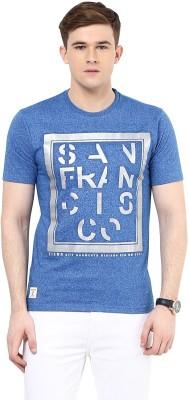 Ziera Printed Men's Round Neck Blue T-Shirt