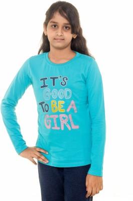 Menthol Printed Girl's Round Neck Blue T-Shirt