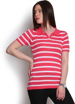 Manola Striped Women's Flap Collar Neck Red T-Shirt