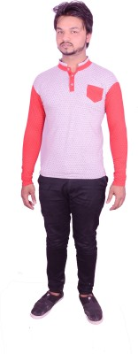HIMGIRI Solid Men's Round Neck Red T-Shirt