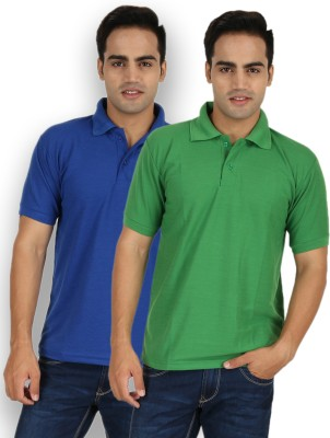 Larwa Solid Men's Polo Neck Green, Blue T-Shirt