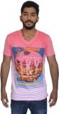 Uniqe Printed Men's V-neck Pink T-Shirt