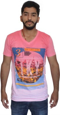 Uniqe Printed Men's V-neck Pink T-Shirt